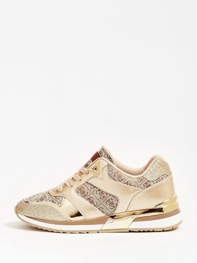 Gold 'Runner Motiv Glitter' Sneakers